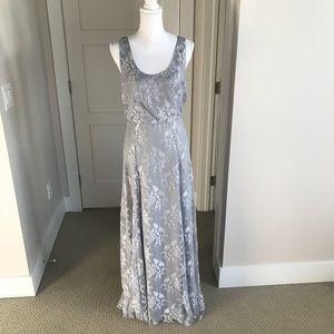 Donna Morgan Whisper Gray Lace Dress